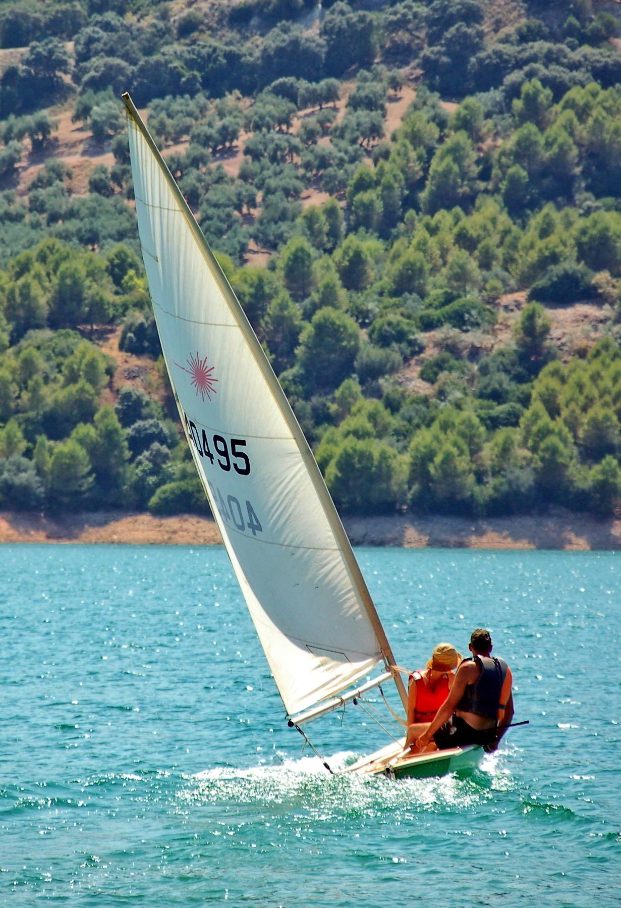 Beach playa Iznajar Andalucia Swim sail Kayaks pedalos